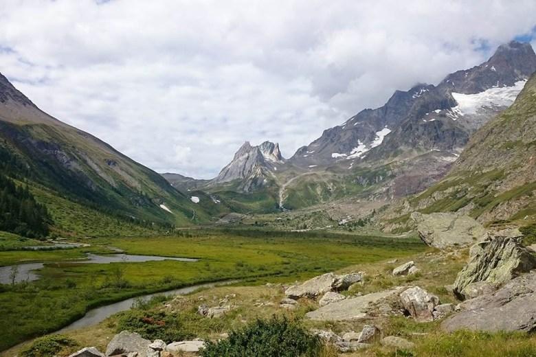 Val Veny hiking trail in Italy