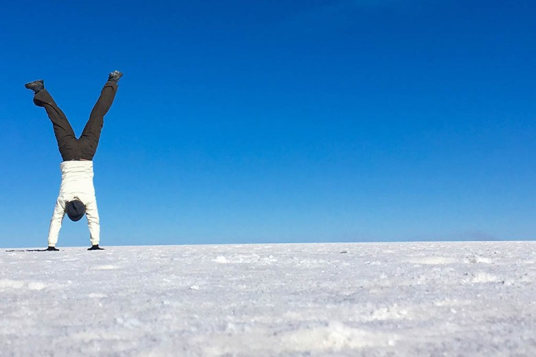 Alisa on the Bolivian salt flats of Salar de Uyuni during her six-month career break