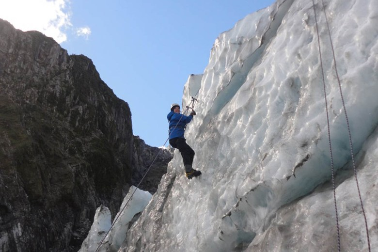 Sarah on Franz Josef Glacier on New Zealand's South Island during her round-the-world trip