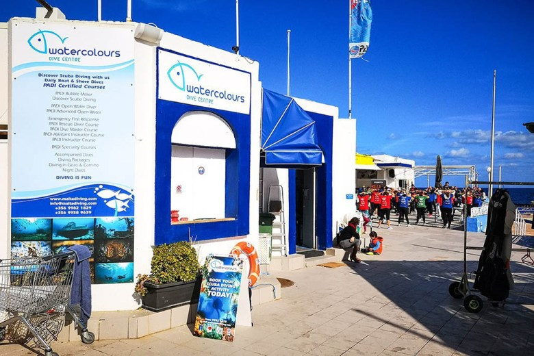 Watercolours Dive Centre is on the seafront in Sliema, one of Malta's most popular areas