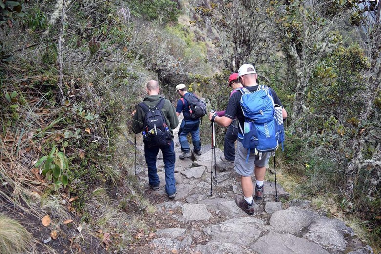 Walking poles are big help on the third day of the Inca Trail, which involves a 1,000-metre descent mostly on stony steps