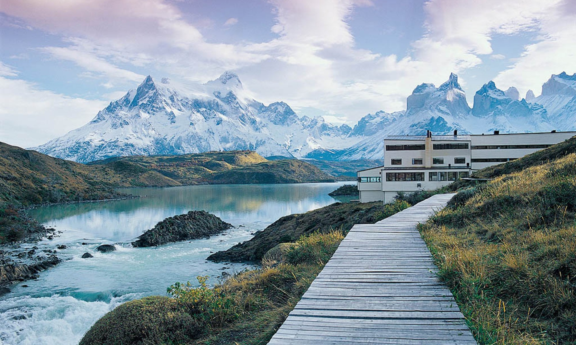 From the shores of Lago Pehoe, Explora Patagonia offers a stunning view of the peaks of Torres Del Paine