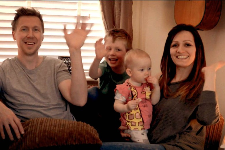 Smile for the camera: the family are recording video diaries of the adventure