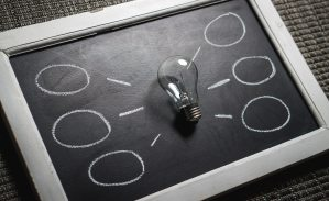 brainstorming on blackboard