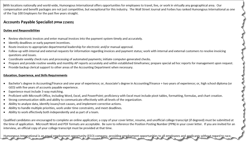 Fictional online job posting for an accounts payable specialist position.