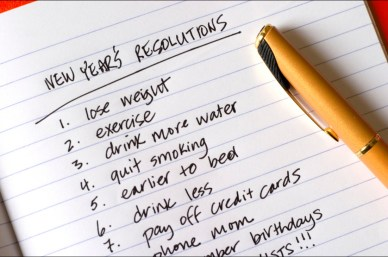 List of typical, but not usually kept, New Year's resolutions.