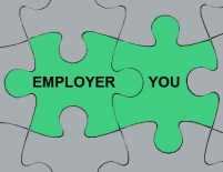 "Multiple interlocked jigsaw puzzle pieces; two are colored differently and labeled ""employer"" and ""you."""
