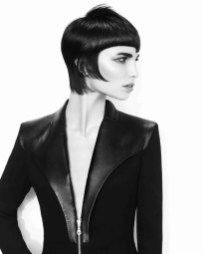 Feathered fringe sharp bob