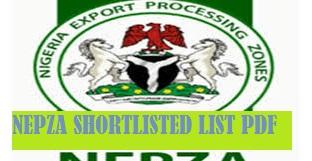 nepza shortlisted candidates