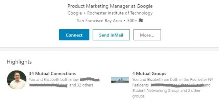 common connections LinkedIn 2018
