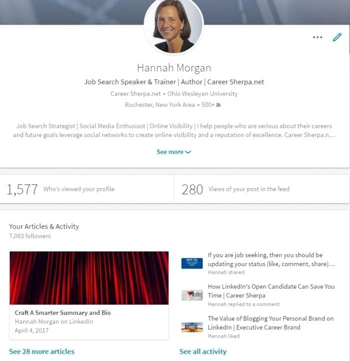 LinkedIn published articles and activity