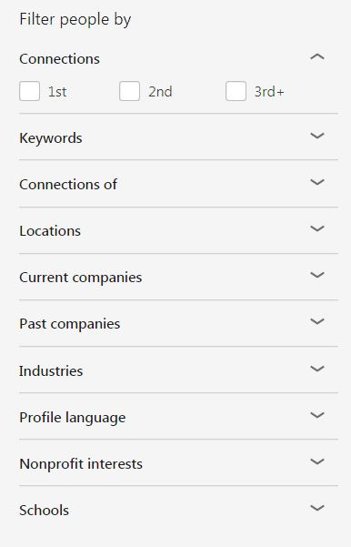 LinkedIn search options 2018