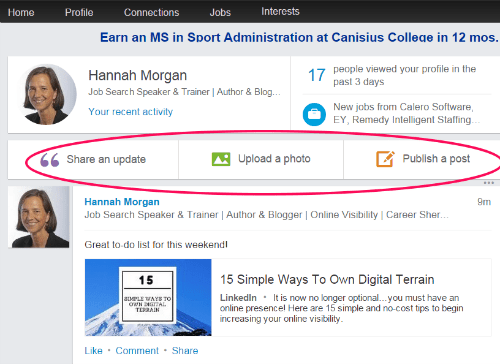 share an update on LinkedIn
