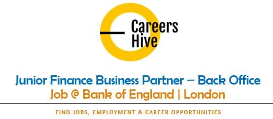 Junior Finance Business Partner Jobs in London at Bank of England