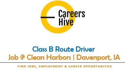 Class B Route Driver Jobs in Davenport, IA   Clean Harbors