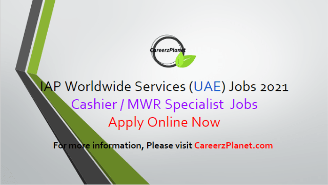 MWR Specialist Jobs at IAP 03 Apr 2021 1- CAC Cashier/ MWR Specialist Full Time Abu Dhabi, UAE  Job Responsibilities: a- Will maintain all MWR facilities in a clean, sanitary, healthy, and professional manner free of dust, dirt, debris, clutter, and trash. b- Provide cashier services as part of the respective resale/retail operations including handling resale requirements to include alcohol sales. c- Will conduct weekly events include bingo, Texas Hold'em, foosball, dominoes, spades, bid whiz, karaoke, pizza night, pool, ping pong, video game tournaments, etc. d- Food giveaways such as complimentary pizza, subs, and donuts shall be used to enhance scheduled programs. e- Handle customer inquiries, check in/out games, play movies, provide information of upcoming trips/tours, decorate for holidays, develop and run tournaments, count customers, provide information of upcoming events  Job Requirements: a- Active Secret Clearance. b- Valid US Driver's License. c- Valid US Passport. d- Candidate must be able to meet contract requirements as determined by the satisfactory completion of reference and background checks, Government mandated physical/medical exam, drug screening, verification of identity.  For more details, please scroll down & see the details.  Last Date to Apply: Apr-15-2021  IAP Worldwide Services Careers - United Arab Emirates Apply at CareerzPlanet.com