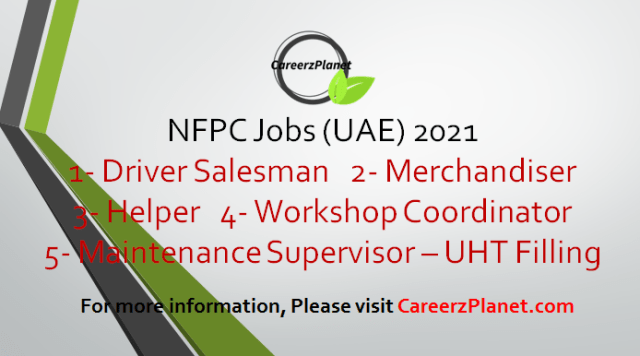 NFPC Jobs in UAE 19 Sep 2021  1- Cost Accountant Full Time United Arab Emirates Last Date : 14-Sep-2021   2- Shelf Stacker Full Time United Arab Emirates Last Date : 31-Aug-2021    3- Operator Full Time United Arab Emirates Last Date : 31-Aug-2021  4- Production Supervisor Full Time United Arab Emirates Last Date : 31-Aug-2021  5- Heavy Duty Bus Driver Full Time United Arab Emirates Last Date : 30-Aug-2021  6- ERP Developer  Full Time United Arab Emirates Last Date : 09-Sep-2021  7- Operator - Processing Full Time United Arab Emirates Last Date : 31-Dec-2021    For more details, please scroll down & see the details.  Last Date to Apply: Sep-30-2021  NFPC Careers - United Arab Emirates