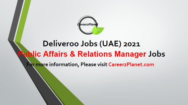Public Affairs & Government Relations Manager Jobs in UAE 03 May 2021