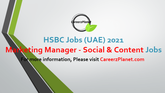 Marketing Manager - Social & Content Jobs in UAE 01 Jul 2021
