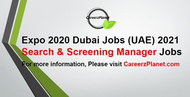 Search & Screening Manager Jobs in UAE 30 Aug 2021