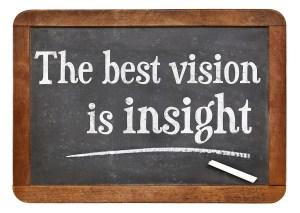 the best vision is insight phrase  on a vintage slate blackboard