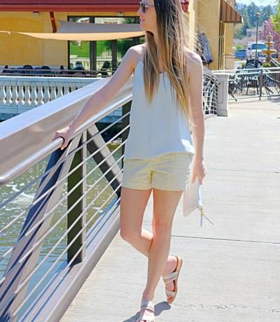 yellow gingham shorts