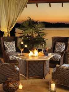 Tommy Bahama Lanai Fire Chat outdoor furniture at Carefree Outdoor Living