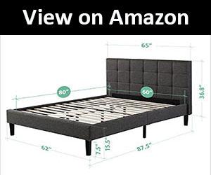 Zinus Upholstered Square Stitched Platform and Frame for Bed