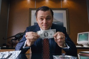 Leonardo DiCaprio portraying Jordan Belfort, the 'Wolf of Wall Street'.