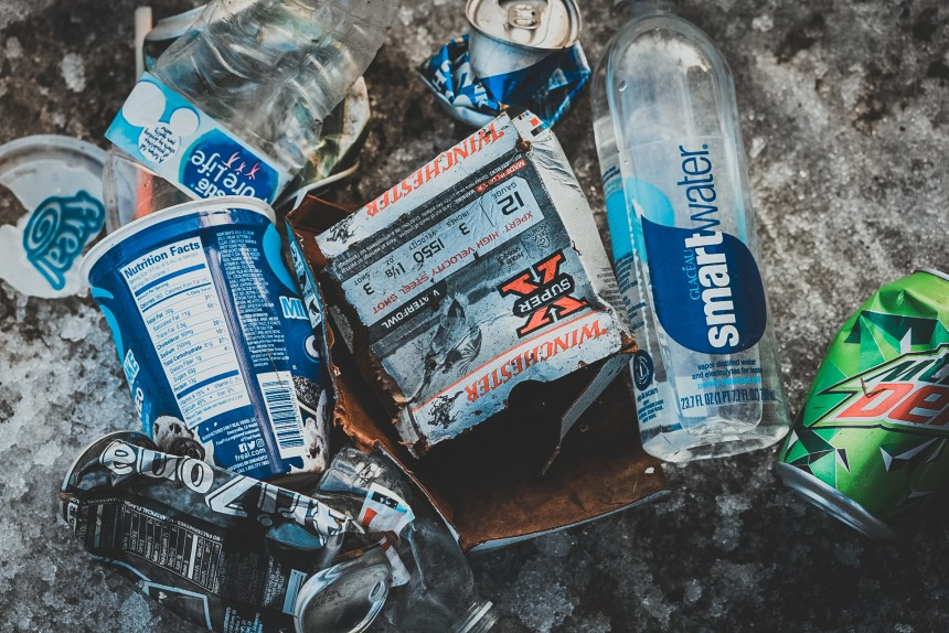 trash left in the forest on public land in Minnesota.