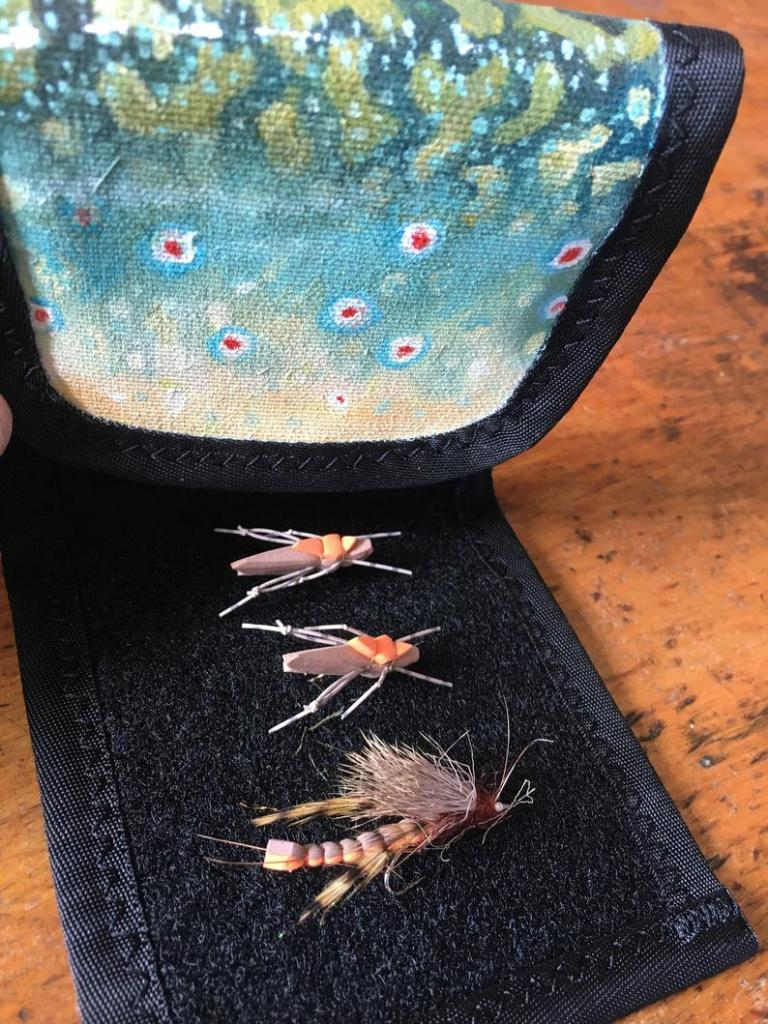 Brook trout custom wader wallet. Flies not included.