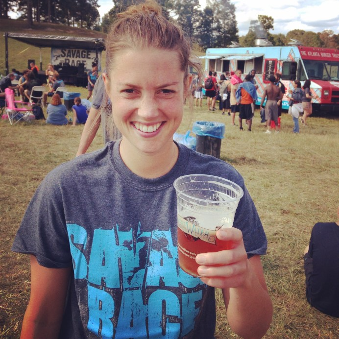 Enjoying my beer after the race