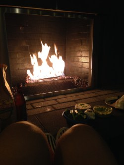Chillin' at the fireplace