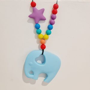 fiddle necklace teething baby blue boy girls elephant