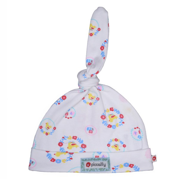 Floral ducks baby knot hat