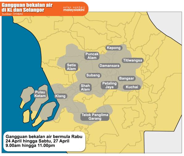 Gangguan Air Lembah Klang 24 - 27 April Libatkan Enam Wilayah.