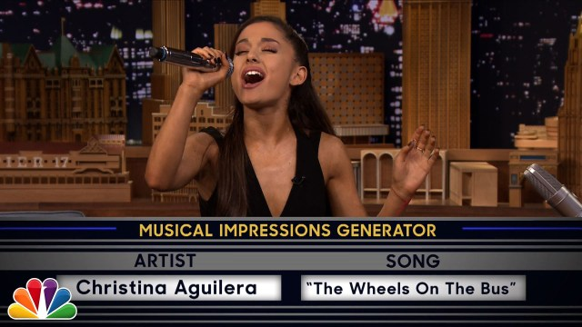 Ariana Grande Gives A Jaw Dropping Performance On Wheel of Musical Impressions At The Late Night Show