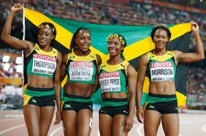 Unity; Elaine Thompson will bring her individual talents to the team based women's 4 x 100 meter relay tomorrow in hopes of bringing Jamaica yet another track and field Gold medal and her third of these games.