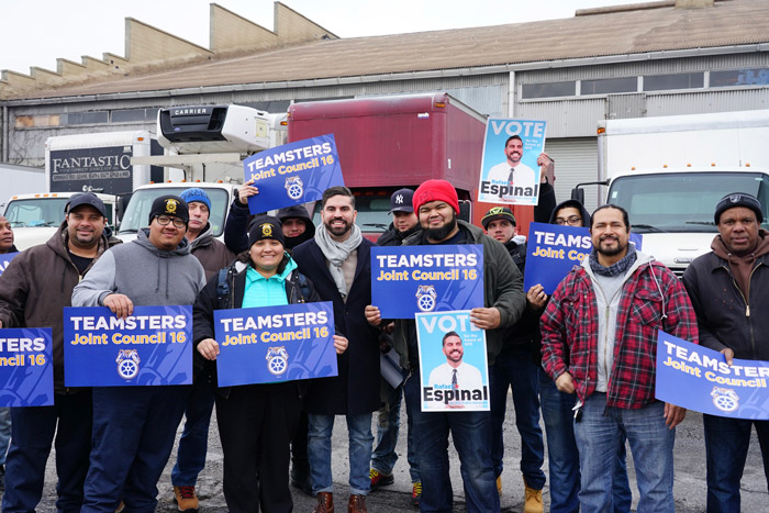 Teamsters Endorse Rafael Espinal for Public Advocate