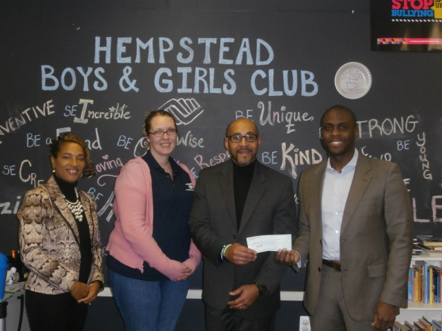 CBC presents check to Hempstead Boys & Girls Club. Executive Director Wayne Redman accepting on their behalf.