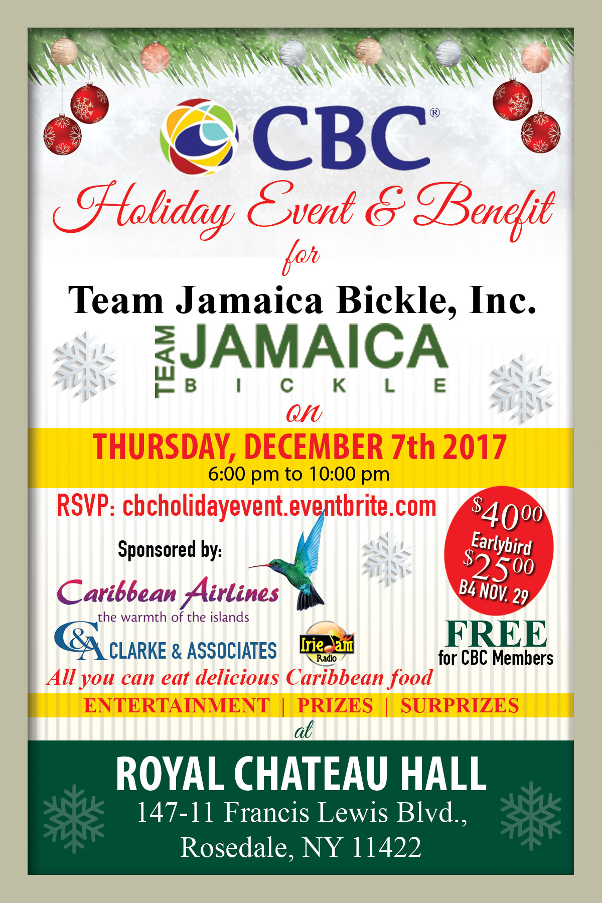 CBC Holiday Event & Benefit for Team Jamaica Bickle Thur Dec 7th | CBC