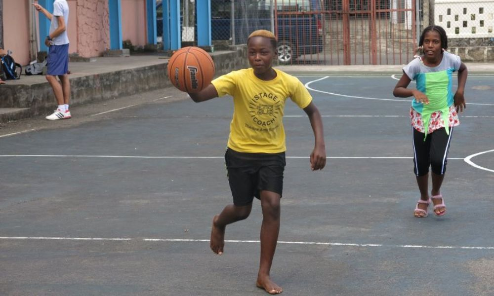 Children taking part in a basketball session in St Lucia