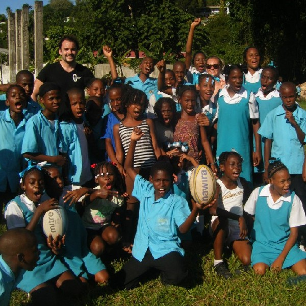 Volunteer coaches in St Lucia on their gap year
