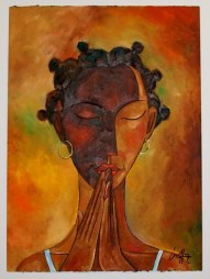 'Cassandra in Prayer' - Michael Escoffery. Oil on paper.