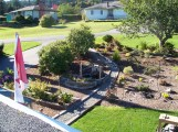 Cielomar, Ladysmith, Front garden with waterfall from roof