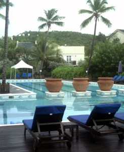 The shared pool at Cotton Bay Villas