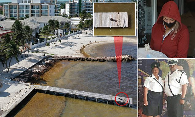 Pictured: The bloodied pier where Belize cop was shot dead