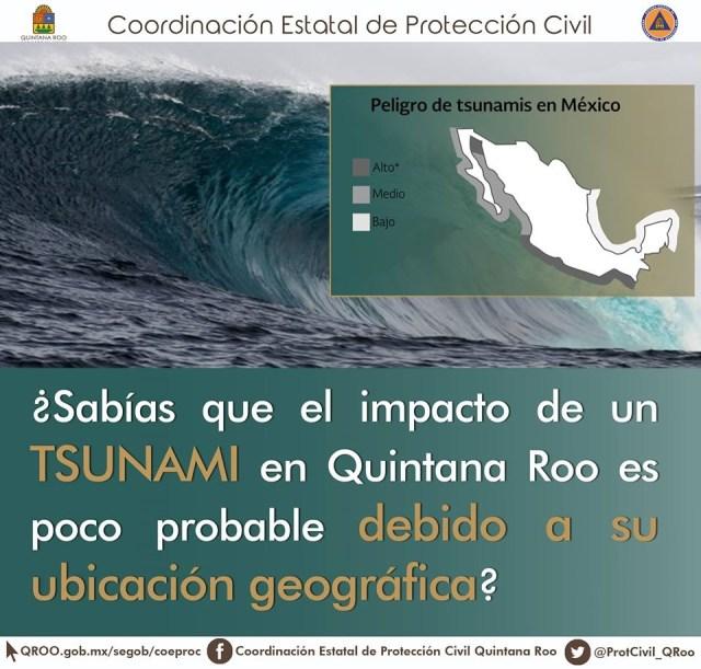 No hay riesgo de tsunami en  Quintana Roo, informa Semar