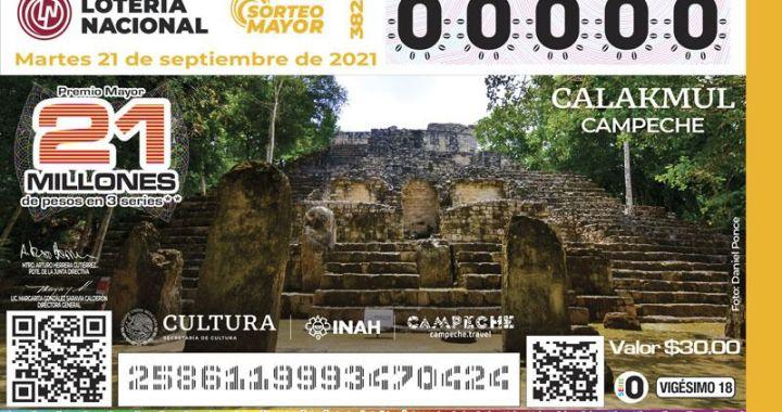 Colocan a Calakmul en billete de lotería