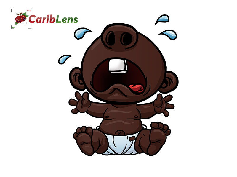Cartoon Little Black African Baby Sitting And Crying In Diapers Cariblens